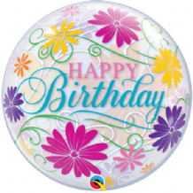 "Birthday Flowers & Filigree Bubble Balloon (22"") 1pc"